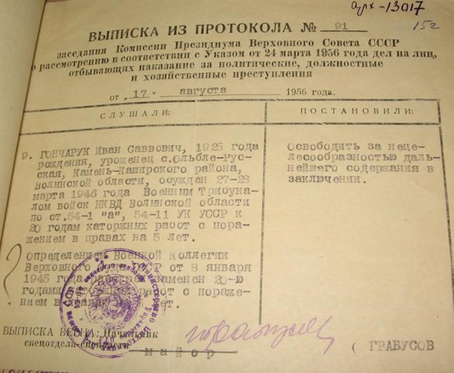 Документ про звільнення з табору