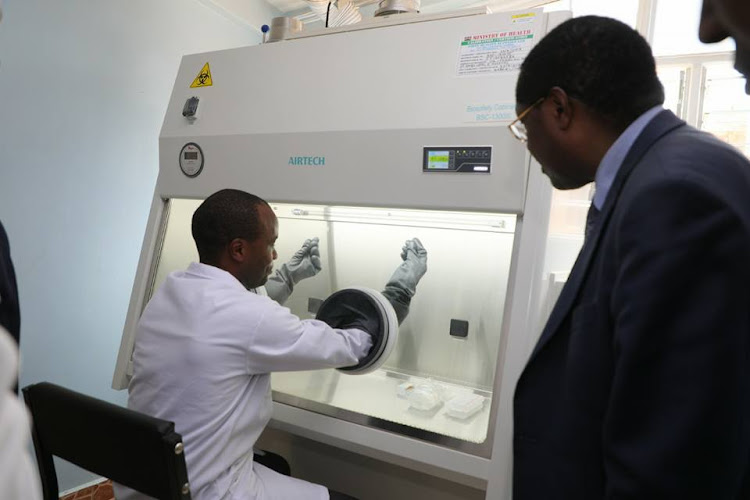 Embu Governor Martin Wambora at the cancer centre at Embu Teaching and Referral Hospital opened in 2019.