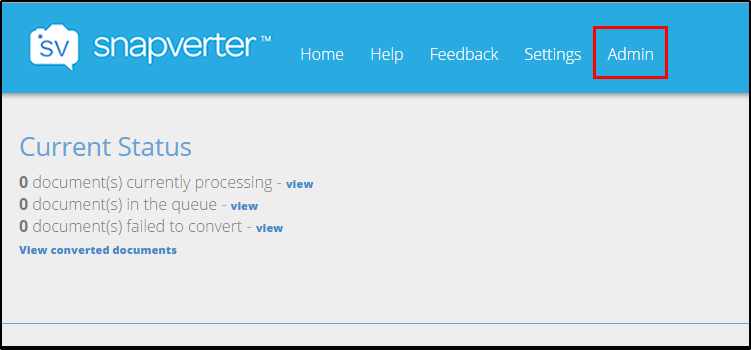 Snapverter Dashboard main page