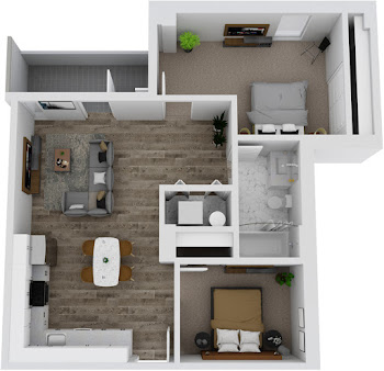 Go to Two Bed, One Bath with Balcony Floorplan page.