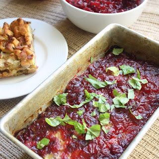 4 Ingredient Leftover Thanksgiving Turkey Stuffing Meatloaf with Cranberry Glaze.