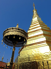Photo: the sacred chedi housing a Buddha relic at Wat Phra That Chaw Hae, dedicated to people born in the year of the tiger, in Phrae