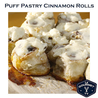 Puff Pastry Cinnamon Rolls with Cream Cheese Frosting.