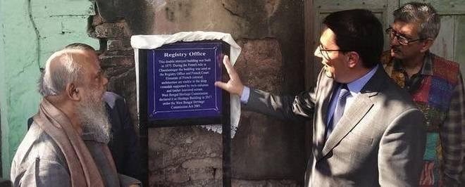 Restoration plans:French Ambassador Alexander Zeigler and Heritage Commission Chairperson Shuvaprasanna unveiling the plaque at Registry Office Building.Special Arrangement