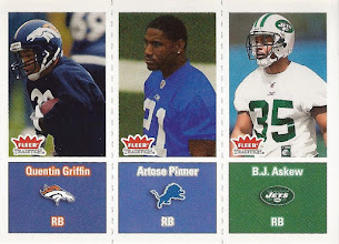 Photo: B.J. Askew 2003 Fleer Tradition RC (with Quentin Griffin and Artose Pinner)