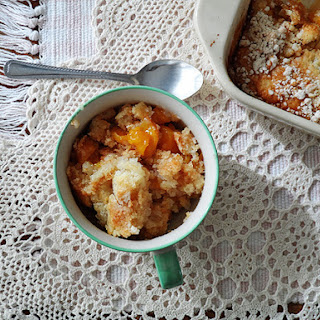 3 Ingredient French Vanilla Peach Cobbler.