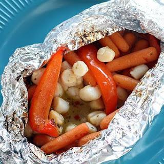 Chili Coconut Scallop Campfire Dinner.