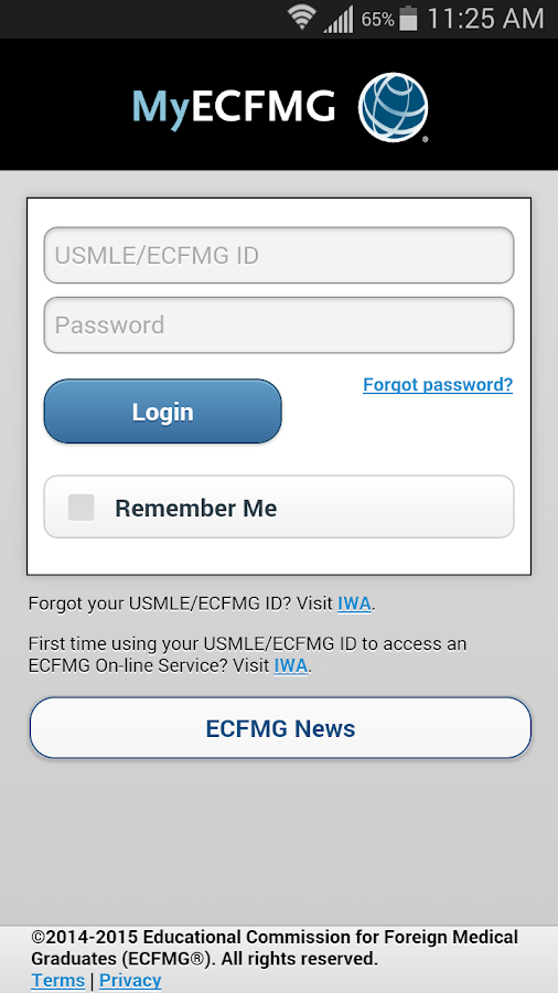 MyECFMG- screenshot