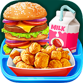 School Lunch Food - Burger, Popcorn Chicken & Milk