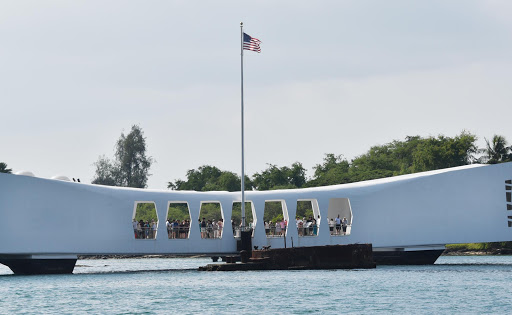 The moving USS Arizona Memorial.