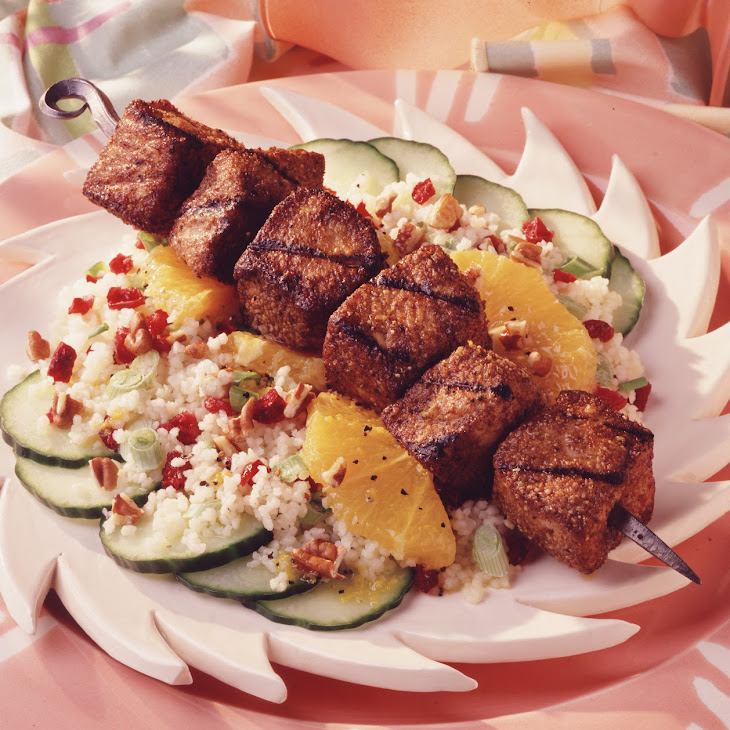 Grilled Pork, Couscous and Dried Cherry Salad with Citrus Vinaigrette Recipe