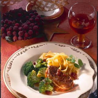 Venison Steak with Cranberry Sauce.