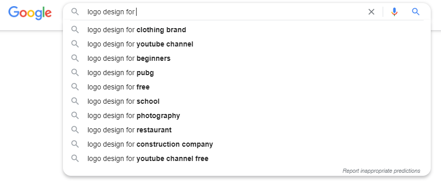 """Google's suggested searches for """"logo design for"""""""