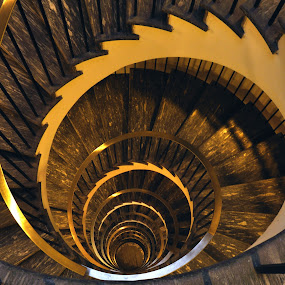 the dark stairway by Marco Virgone - Buildings & Architecture Other Interior ( stairway, spiral )
