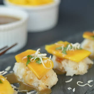 Mango and Coconut Dessert Sushi.