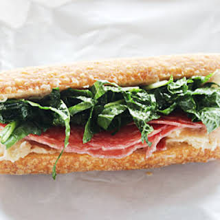 Make-Ahead Salami Sub with White Bean Spread and Kale-Slaw.