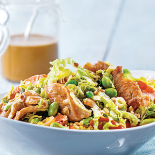 Chicken & Edamame Stir-Fry Slaw with Sriracha Peanut Vinaigrette