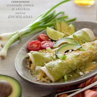 Avocado Cream and Chicken Suiza Enchiladas.