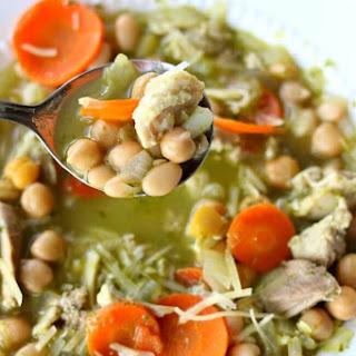 Slow Cooker Chicken Pesto Bean Soup.