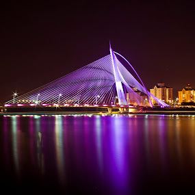 by Fadly Hj Halim - Landscapes Waterscapes ( building, reflection, night, bridge, light )