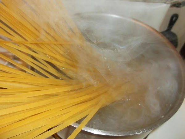 Meanwhile, increase heat to high under pasta water to bring to a boil. Add...