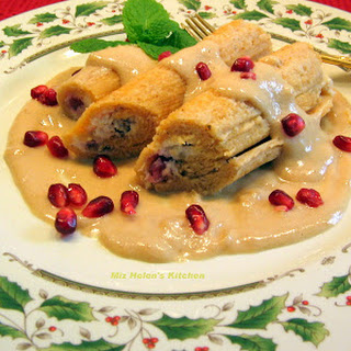 Pomegranate Tamale with Flan Sauce