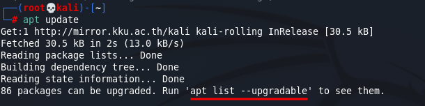 Update Kali Linux - Updating Kali Linux repositories. Source: nudesystems.com