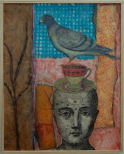 """Photo: Stacked on Top, 21 x 17"""", encaustic collage"""