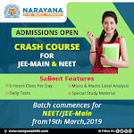 Crash course starts today by Narayana for JEE mains