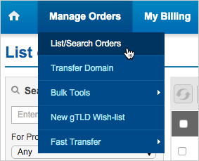 Manage Orders > List/Search Orders