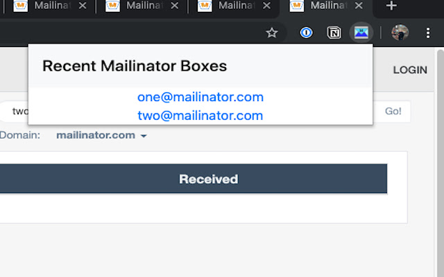 Chrome Mailinator Omnibox