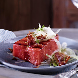 Grilled Watermelon with Bacon and Pickled Fennel.