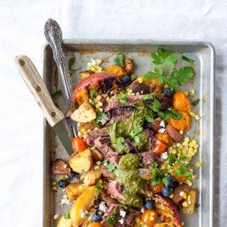 Steak Chimichurri with Burst Tomato Corn Salad