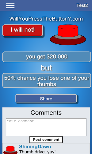 3 Will You Press The Button? App screenshot