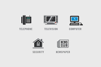 "Photo: Electronic/Communication/Security Icons - ""Telephone, Television, Computer, Security, Newspaper"""