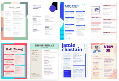 Resumes created on Canva