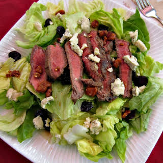 Grilled Steak Salad w/Cherries, Walnuts and Blue Cheese.
