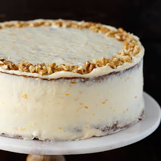 Pineapple Carrot Cake with Orange Cream Cheese Frosting.
