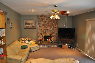 Photo: (Before) Callan's Family room with a stone fireplace and carpet floorsSee how we transformed this room in the next photoRoyersford, Pa