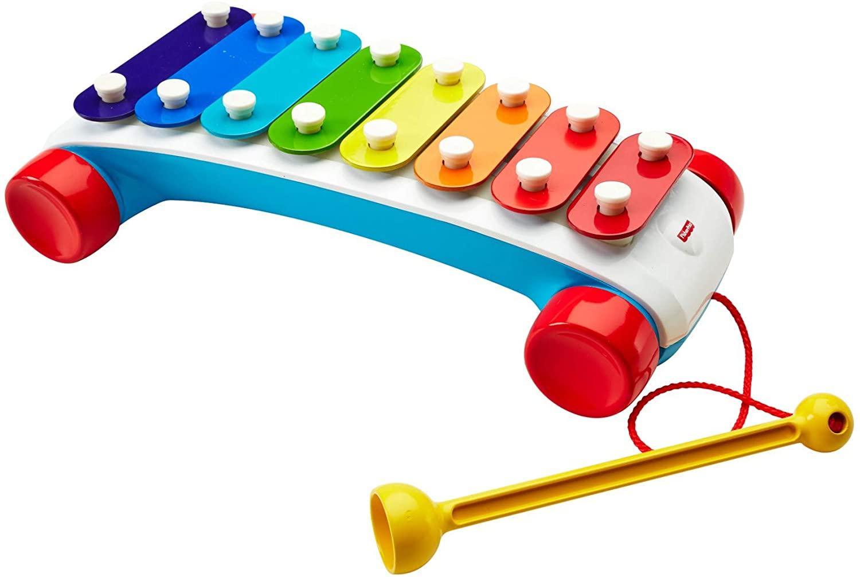 Xilofone com 8 teclas em tons de vermelho, laranja, amarelo, verde e azul. Presente de Dia das crianças indicado para crianças acima de 18 meses.