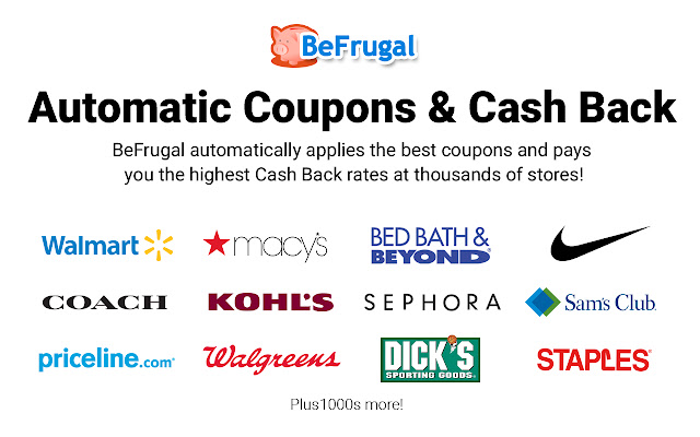 BeFrugal: Automatic Coupons and Cash Back