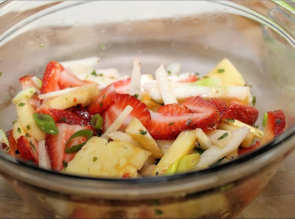 Prepare salad – cut jicama in half, then remove skin.  Slice jicama into...