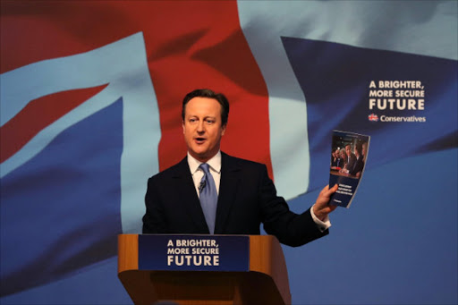 Britain's Prime Minister David Cameron presents the Conservative party election manifesto in Swindon, April 14, 2015. Photo/REUTERS