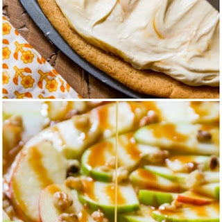 Apple Dessert Pizza with Caramel Cream Cheese Frosting.