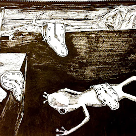 The Persistence of Frogs by Melissa Toothman - Drawing All Drawing ( clocks, dali, frog, salvadore, melting, the persistence of memory, inspired )