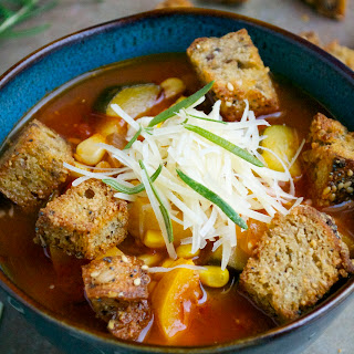 Rosemary Vegetable Soup with Parmesan Croutons.