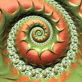 Happy tomato fractal by Pam Blackstone - Illustration Abstract & Patterns ( orange, tomato, green, spiral, fractal,  )