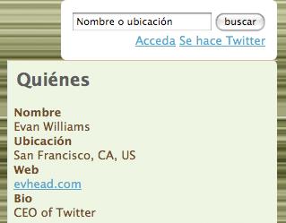 TwitterFE Spanish language example