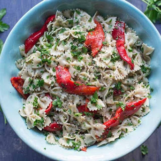 Farfalle with Roasted Red Peppers & Parsley .