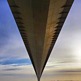 Floating by Steve BB - Buildings & Architecture Bridges & Suspended Structures ( humber bridge, sea, suspension, perspective, bridge, road, pwcbridges, river, landscape, beach )